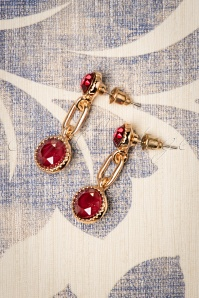 50s Classic Earrings in Royal Red and Gold