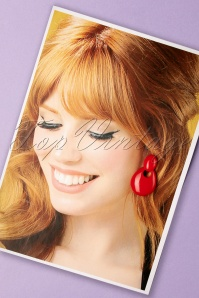60s Tometo Tomato Retro Earrings in Red