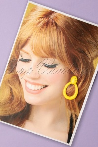 60s Hello Sunshine Retro Earrings in Yellow