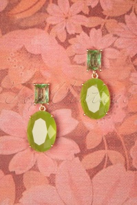 50s Oval Cut Vintage Earrings in Lovely Lime