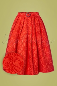 60s Florida Jacquard Swing Skirt in Coral Red