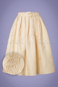 60s Florida Jacquard Swing Skirt in Cream
