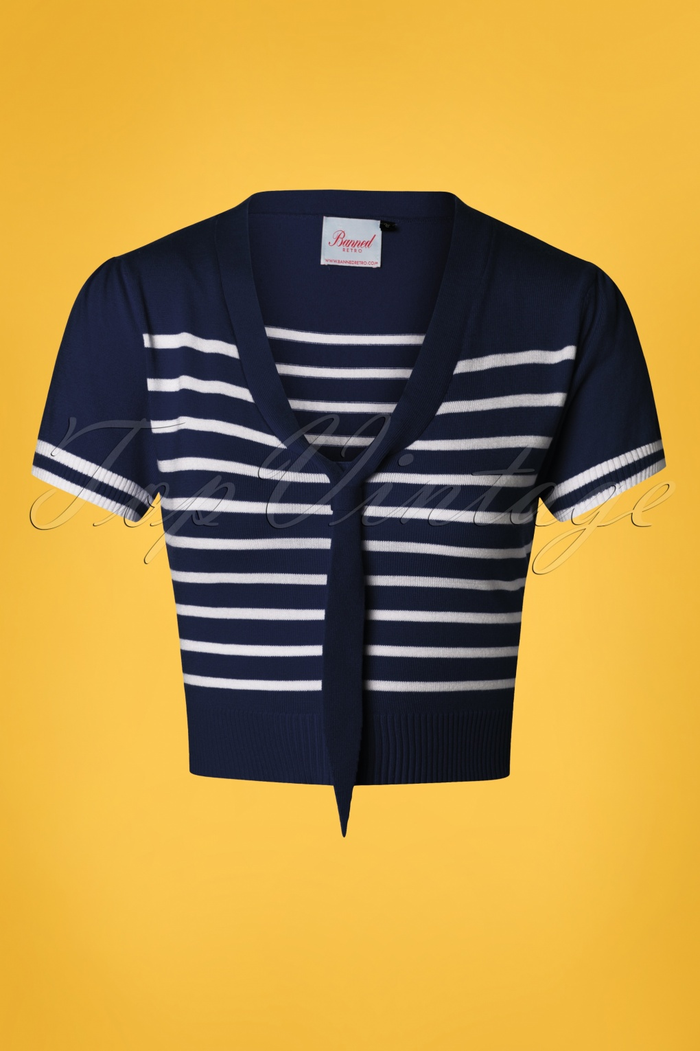 Pin Up Dresses | Pinup Clothing & Fashion 50s Sailor Stripe Tie Top in Navy £32.86 AT vintagedancer.com