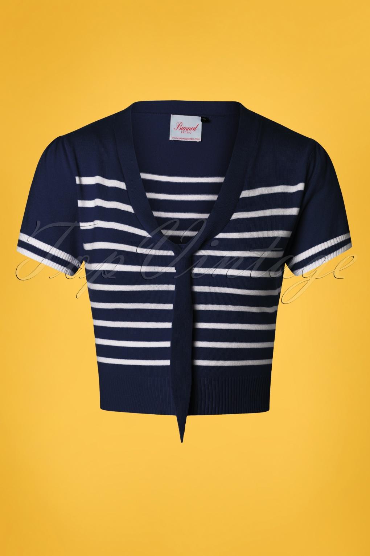 1930s Style Blouses, Shirts, Tops | Vintage Blouses 50s Sailor Stripe Tie Top in Navy £32.86 AT vintagedancer.com