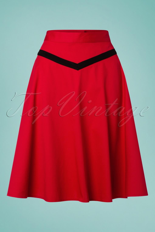 50s Dresses UK | 1950s Dresses, Shoes & Clothing Shops 50s Rockin Swing Skirt in Deep Red £34.59 AT vintagedancer.com