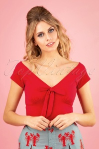 50s Bow Wow Top in Red