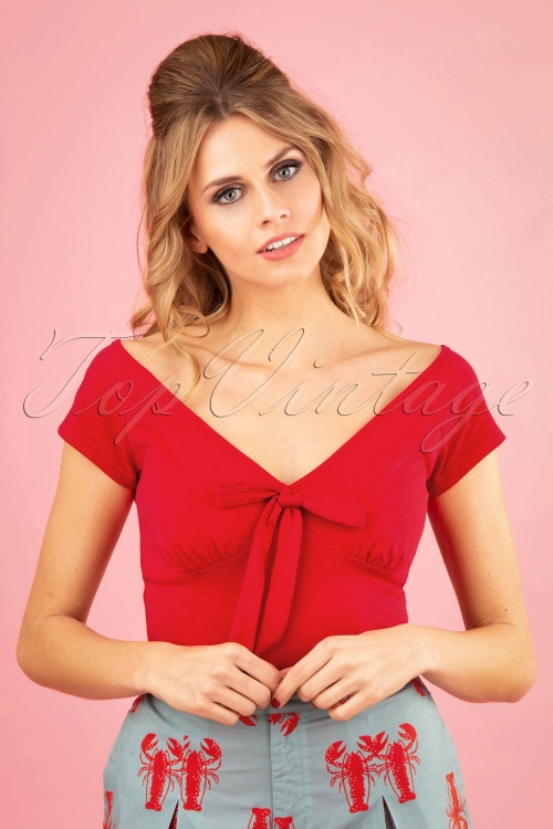Banned 28541 50s Bow Wow Top in Red  20181218 0100W