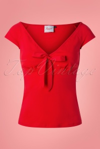 Banned 28541 50s Bow Wow Top in Red  20181218 002W