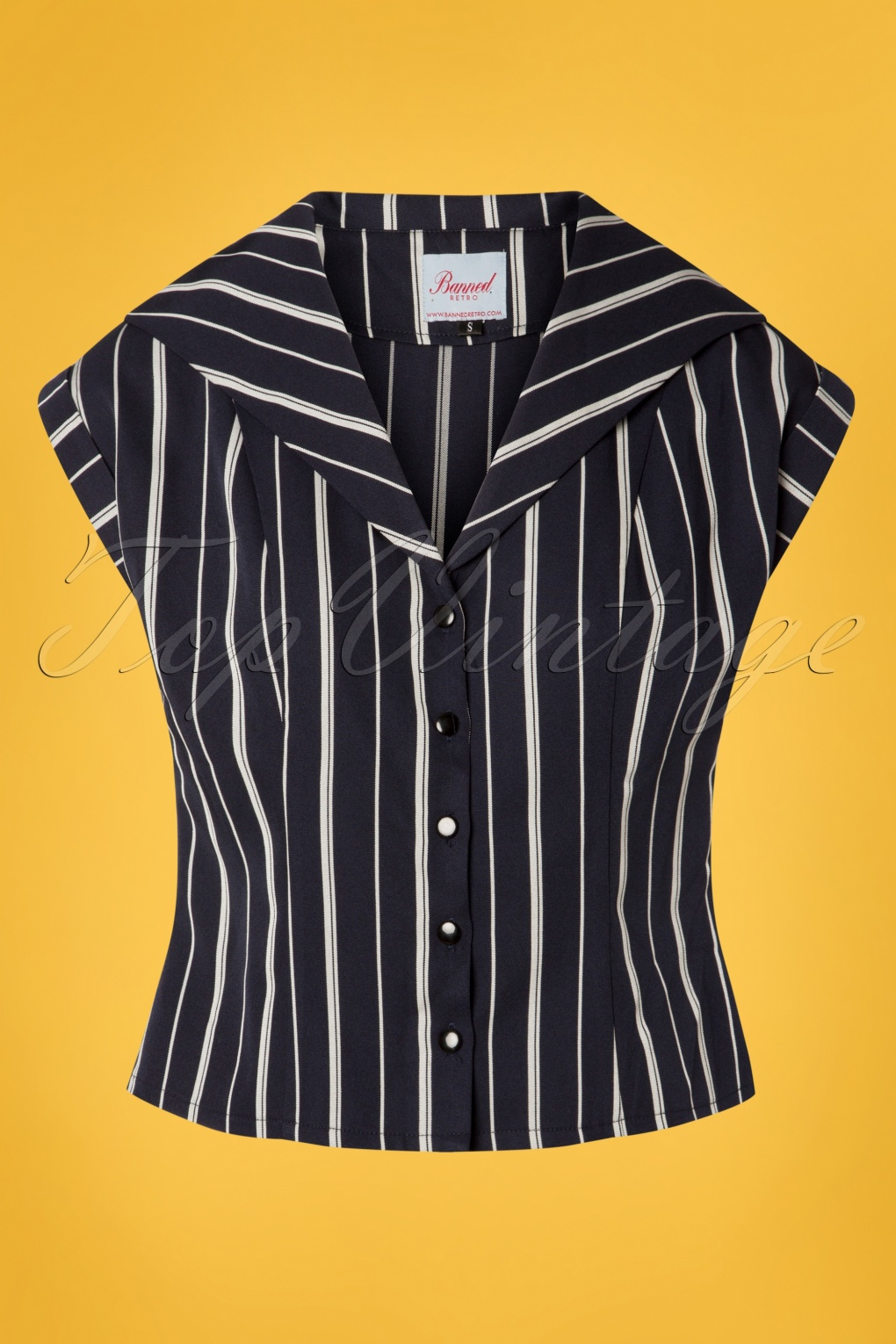 Vintage & Retro Shirts, Halter Tops, Blouses 20s Deckchair Stripes Blouse in Navy and White £31.99 AT vintagedancer.com