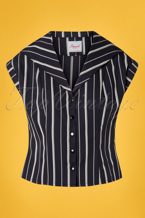 Banned 28473 50s Deckchar Striped Blouse in Navy 20181213 002W