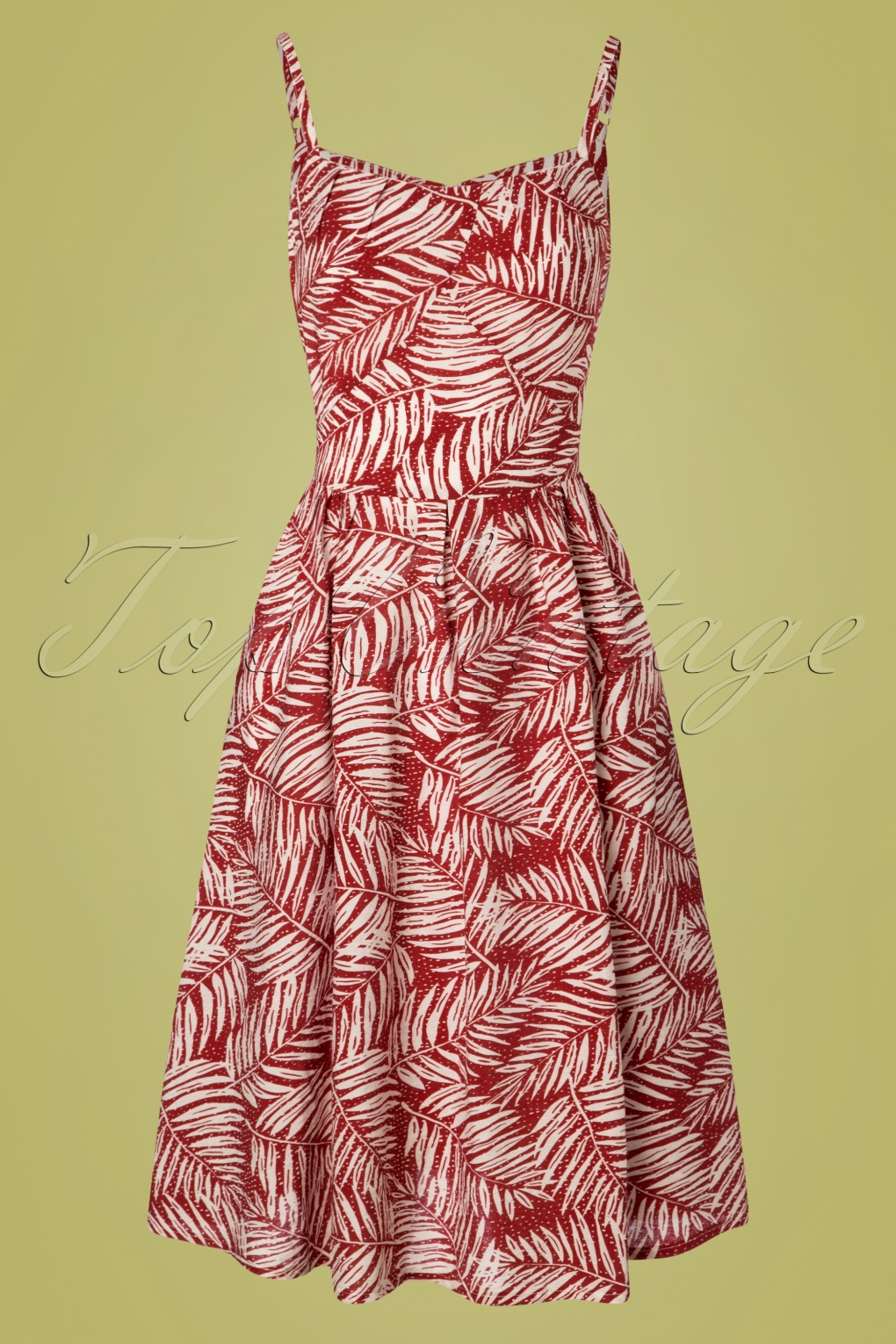 Retro Tiki, Tropical, Hawaiian Style Dresses 50s Palm Days Dress in Burgundy £46.71 AT vintagedancer.com