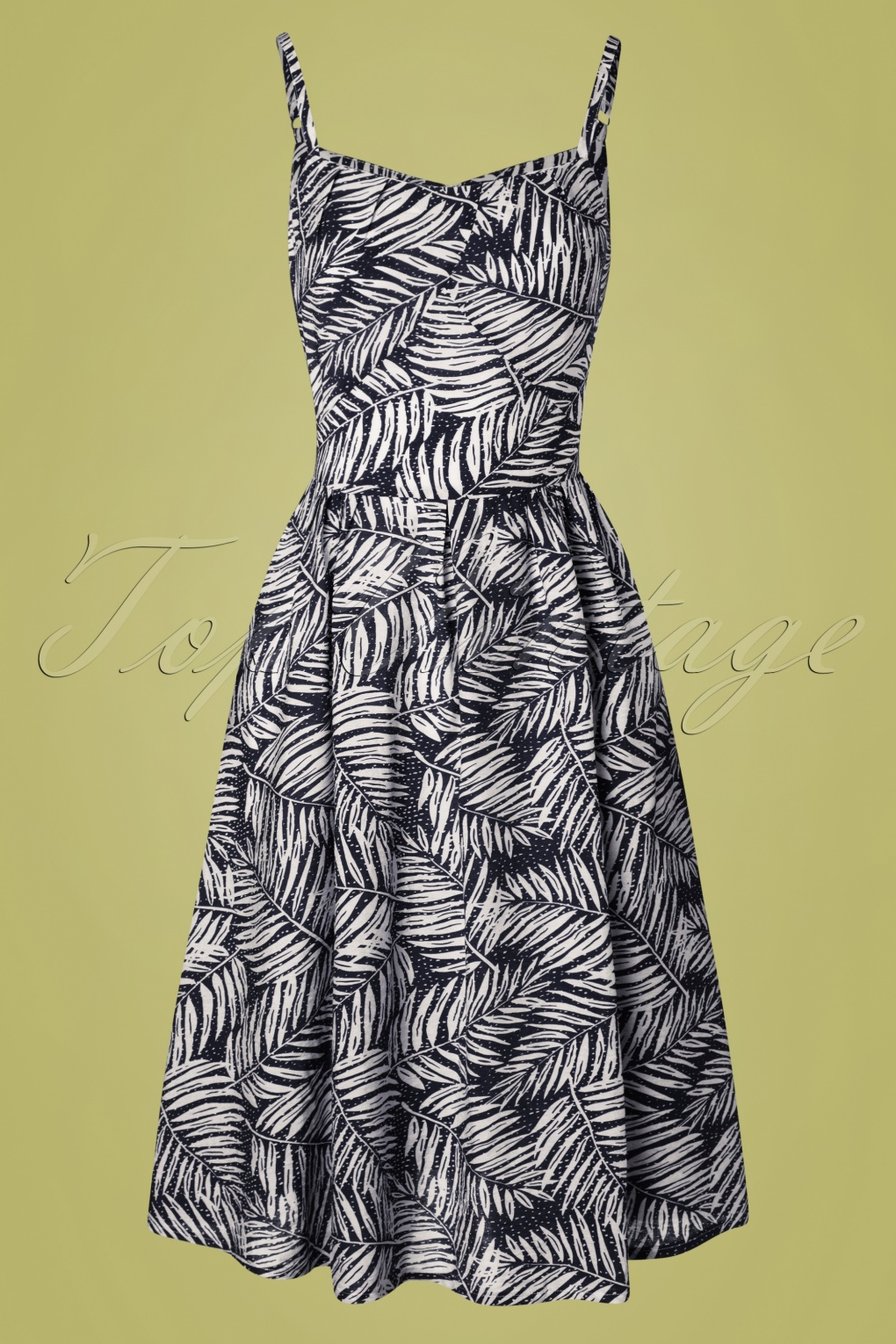 Retro Tiki, Tropical, Hawaiian Style Dresses 50s Palm Days Dress in Navy £46.71 AT vintagedancer.com