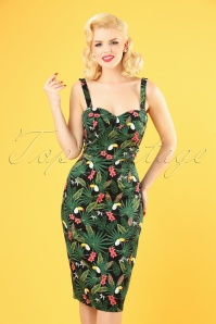 Collectif Clothing 50s Kiana Tropicalia Pencil Dress in Multi