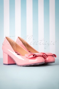 60s Eve Vegan Block Heel Pumps in Bubblegum Pink