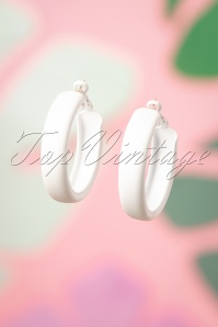 60s Larissa Hoop Earrings in White