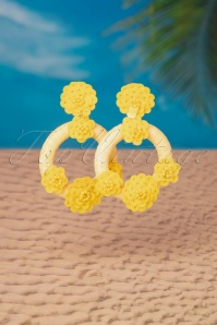 60s Happy Day Floral Hoop Earrings in Yellow