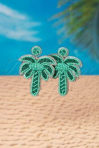 My Tropical Palm Tree Earrings Années 60 en Vert