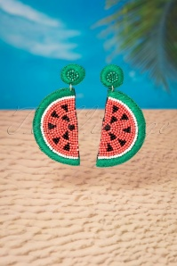 60s My Juicy Watermelon Earrings in Coral and Green