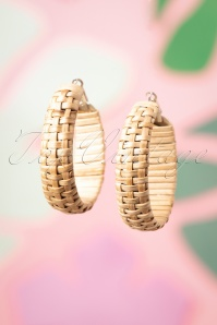 70s Hanna Rattan Hoop Earrings in Silver
