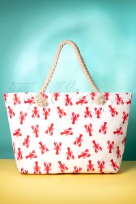 50s Lobster Beach Bag in White