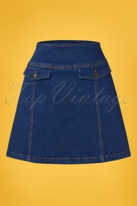 60s Lucie Denim Skirt in Jet Blue