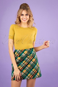 60s Olivia Oxford Skirt in Dragonfly Green