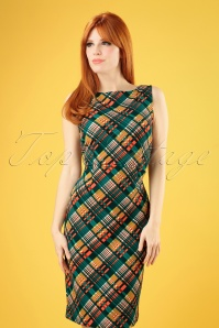 60s Alma Oxford Pencil Dress in Dragonfly Green