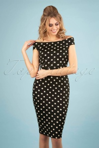 50s Iris Party Polka Pencil Dress in Black