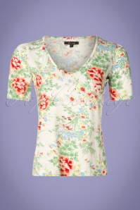 60s Carice Floral V Top in Gardenia White
