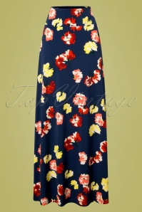 70s Mimosa Border Maxi Skirt in Denim Blue