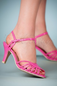 40s Amelia Sandals in Fuchsia