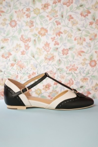 Charlie Stone 50s Parisienne T-Strap Flats in Black and Cream