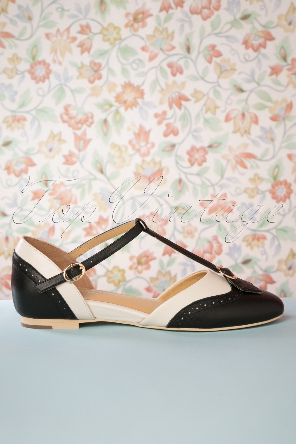 1950s Style Shoes | Heels, Flats, Saddle Shoes 50s Parisienne T-Strap Flats in Black and Cream £106.69 AT vintagedancer.com