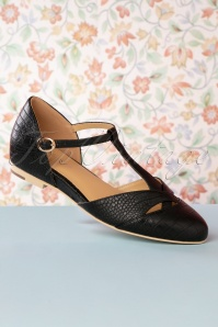 Charlie Stone 50s Roma T-Strap Flats in Black
