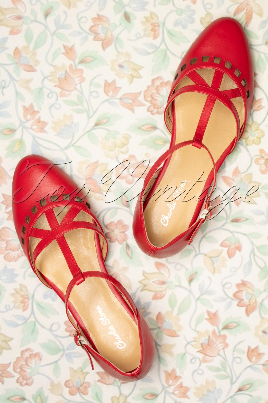 1950s Shoe Styles: Heels, Flats, Sandals, Saddles Shoes 50s Valentina T-Strap Flats in Deep Red £104.33 AT vintagedancer.com