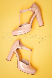 Tamaris 60s Phoebe Lacquer T-Strap Pumps in Dusty Pink