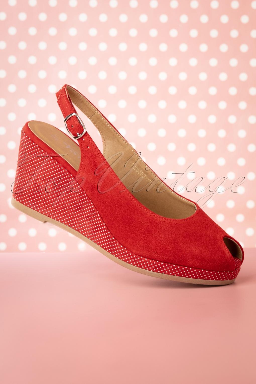 50s Pindot Platform Sandals in Red