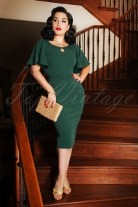 The Olivia Pencil Dress in Forest Green