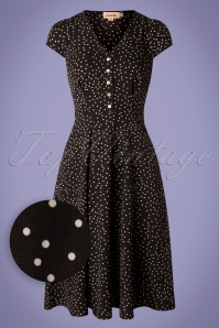40s Cathleen Polkadot Midi Dress in Black