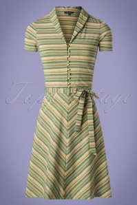 60s Emmy Trophy Stripe Dress in Lapis