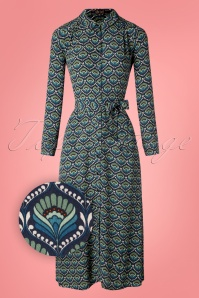 60s Midi Adonis Dress in Dark Navy