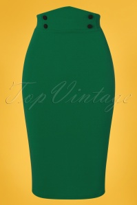 Vintage Chic 28732 Emerald Pencil Skirt 20190129 002W