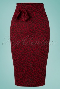Vintage Chic 28756 Jacquard Red Leopard Pencil Skirt 20190129 002W