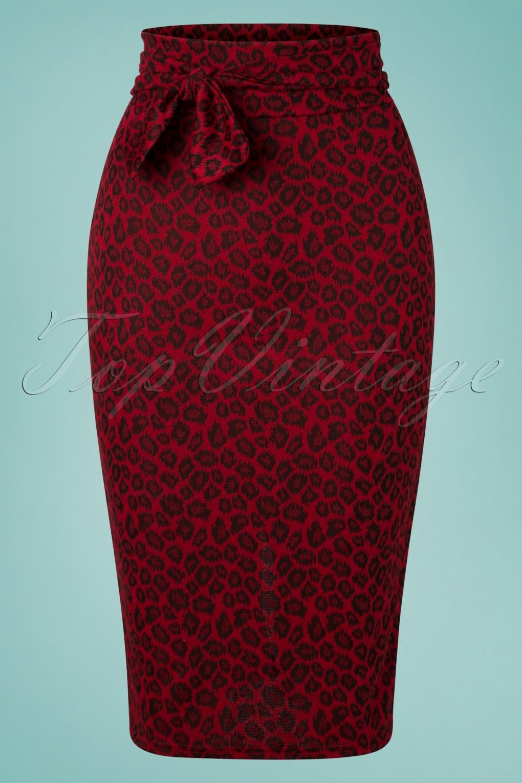 50s Dresses UK | 1950s Dresses, Shoes & Clothing Shops 50s Shana Leopard Pencil Skirt in Red £29.88 AT vintagedancer.com
