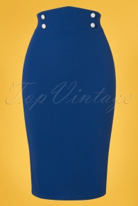 Vintage Chic 28731 Royal Blue Pencil Skirt 20190129 002W