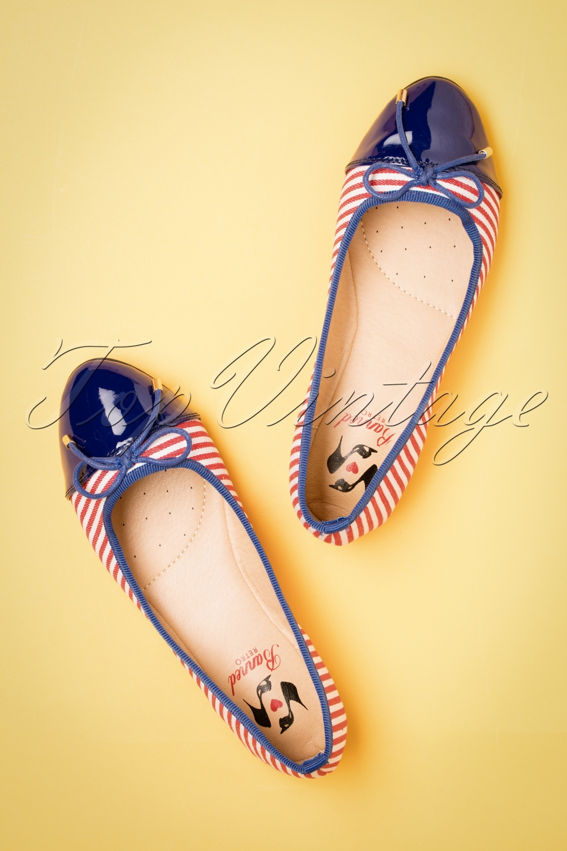 Sailor Dresses, Nautical Theme Dress, WW2 Dresses 50s Devon Striped Flats in Red and Navy �40.61 AT vintagedancer.com