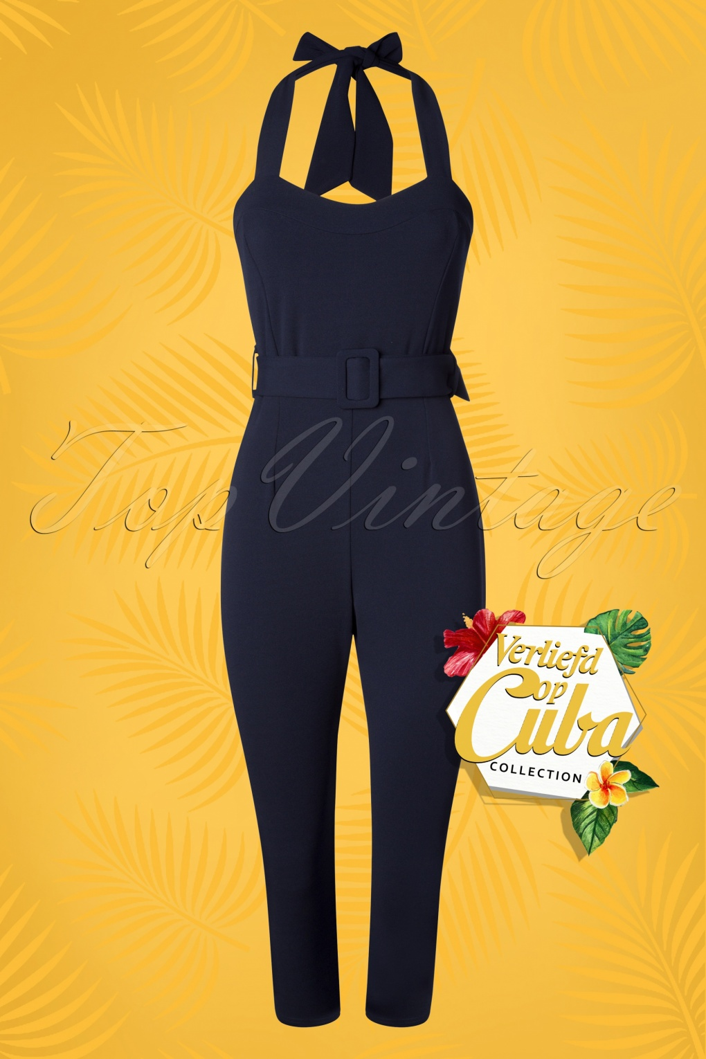 Vintage High Waisted Trousers, Sailor Pants, Jeans 50s Hermosa Jumpsuit in Navy £57.07 AT vintagedancer.com