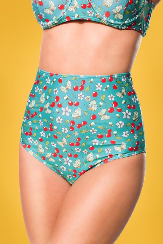 Sweet Cherry Bikini Pants Années 50 en Turquoise
