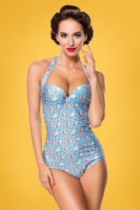 50s Rosie Roses Halter Swimsuit in Blue