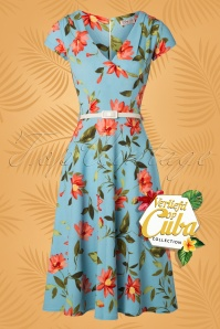 50s Maartje Floral Swing Dress in Blue